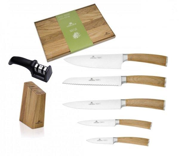 Noże Gerlach 320 Natur zestaw noży + blok + Deska Gerlach 45x30 + ostrzałka Gerlach dwufazowa