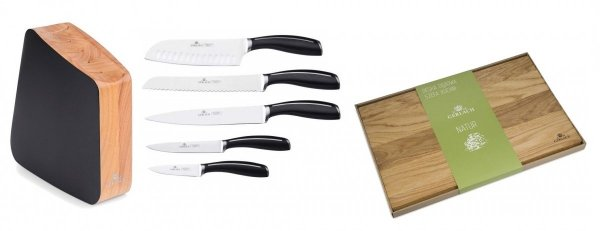 Zestaw noży Gerlach 981 Loft - 5 noży + drewniany lakierowany blok + Deska Gerlach 320 Natur 30x24 cm