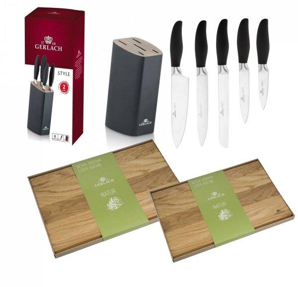 Noże Gerlach 986 Style zestaw 5 noży + blok CZARNY | Deska Gerlach Natur 30x24 i 45x30 cm