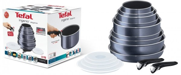 Zestaw Tefal L23196 52 Ingenio Elegance 15 PCS | 3x garnki + patelnie i akcesoria