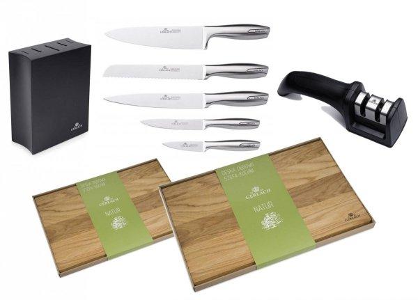 Noże Gerlach 993 Modern zestaw noży + blok czarny + Ostrzałka Gerlach NK 606 + Deska Gerlach 320 Natur 30x24 + Deska Gerlach 320 Natur 45x30