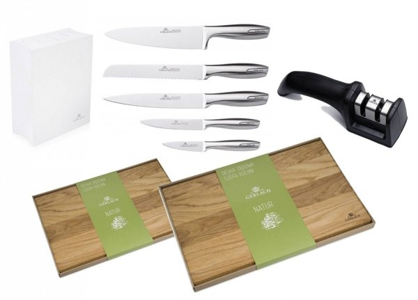 Noże Gerlach 993 Modern zestaw noży + blok * biały * + Ostrzałka Gerlach NK 606 + Deska Gerlach 320 Natur 30x24 + Deska Gerlach 320 Natur 45x30