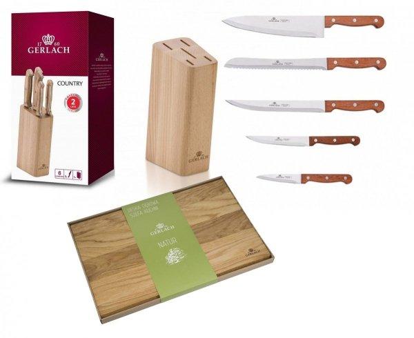 Noże Gerlach 959A Country 5 noży + blok *NOWOŚĆ*   Deska Gerlach Natur 45x30 cm