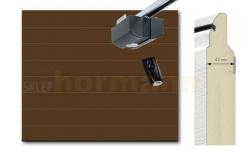 Brama automatyczna ISOMATIC 42 mm, 2500 x 2125, Przetłoczenia M, Woodgrain, brąz RAL 8028, z napędem elektrycznym