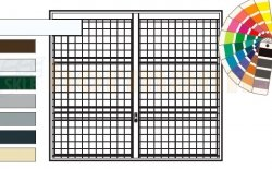 Brama uchylna N 80, 2500 x 2125, Wzór 903 spawana krata 100 x 100 x 5 mm, kolor do wyboru