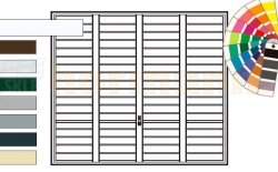 Brama uchylna N 80, 2500 x 2375, Wzór 904 Okrągłe profile Ø 12 mm, Odstęp 100 mm, kolor do wyboru