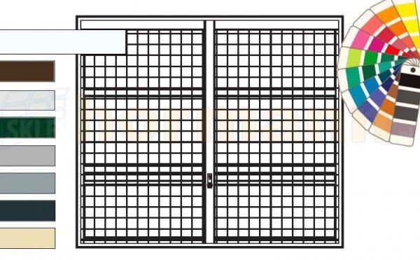 Brama uchylna N 80, 2250 x 1920, Wzór 903 spawana krata 100 x 100 x 5 mm, kolor do wyboru