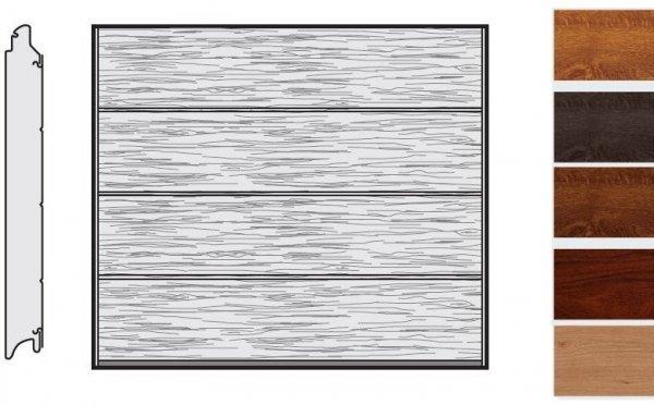 Brama LPU 42, 2375 x 2000, Przetłoczenia L, Decograin, okleina drewnopodobna