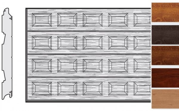 Brama LPU 42, 5500 x 2000, Kasetony S, Decograin, okleina drewnopodobna