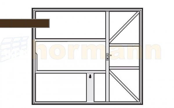 Brama uchylna N 80, 2500 x 2000, Wzór 905 z drzwiami, do wypełnienia