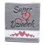 Ręcznik haftowany Super Dziadek , kolor szary