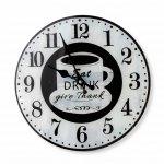 Zegar szklany okrągły 30x4cm KUBEK BIAŁY Eat DRINK