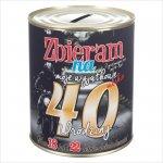 Skarbonka metalowa z napisem 'Zbieram na moje wyjątkowe 40 urodziny'.  Rozmiar 12x10 cm