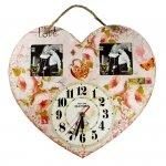 Zegar serce róże