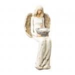 Figura gipsowa 'Anioł ze świecznikiem'. Kolor kremowy. Wysokość 30 cm.