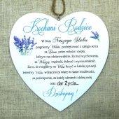 Drewniana tabliczka w kształcie serce z napisem 'Kochani Rodzice... w dniu naszego ślubu'. Wzór 27. Rozmiar 10cm