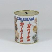 Skarbonka metalowa z napisem 'Zbieram na pieska i kotka'. Rozmiar 12x10 cm
