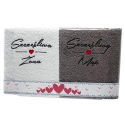 Komplet ręczników  SZCZĘŚLIWA ŻONA - SZCZĘSLIWY  MĄŻ  kolor biało-szary