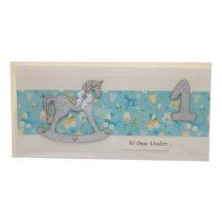 Kartka na 1 urodziny z koniem na biegunach, kolor niebieski