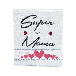 Ręcznik haftowany SUPER MAMA , kolor biały
