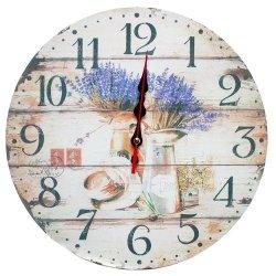Zegar ścienny drewniany, lawenda