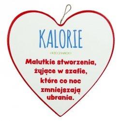 Drewniana tabliczka w kształcie serca 15 cm  KALORIE - RZECZOWNIK