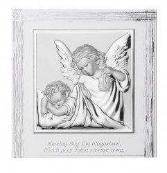 Obrazek Anioł Stróż z podpisem na białym drewnie 12X12 cm