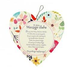 Drewniana tabliczka w kształcie serca W Dniu Waszego Ślubu
