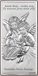 Obrazek srebrny przedstawiający wizerunek Aniołków nad dzieciątkiem z modlitwą i napisem Pamiątka Chrztu Świętego