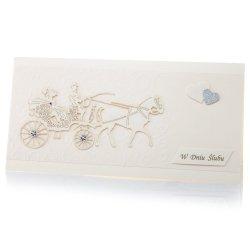 Kartka W Dniu Ślubu, karoca, sklejka