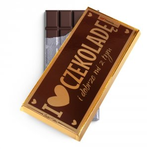 Czekolada mleczna w złotym opakowaniu I love czekoladę i dobrze mi z tym brązowa