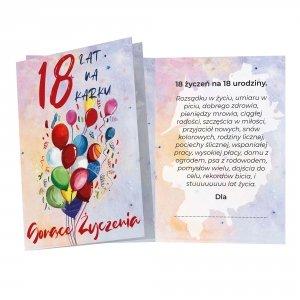 Duży karnet 18 lat na karku - 18 życzeń na 18 urodziny