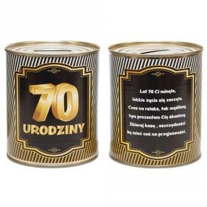 Skarbonka metalowa urodzinowa 70