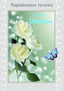 Kartka W dniu Urodzin ( białe róże )