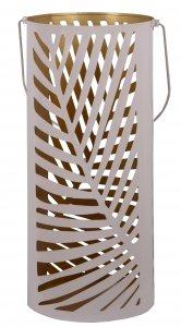 LAMPION RÓŻOWY Z LIŚCIEM ŚREDNI 16x32cm