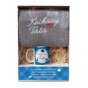 Zestaw prezentowy  szary z  ręcznikiem Kochany tata   i kubek mix  w ozdobnym opakowaniu