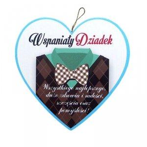 Drewniana tabliczka w kształcie serca Wspaniały Dziadek