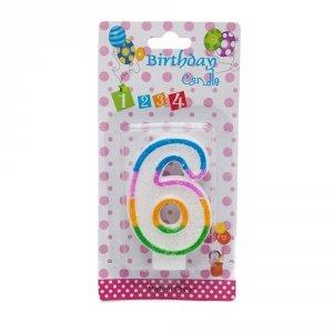 Świeczka cyferka urodzinowa z brokatem 6