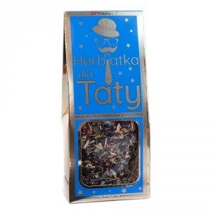 Wyjątkowa herbatka kwiatowa w złotym opakowaniu z napisem Herbatka dla Taty - złoty napis