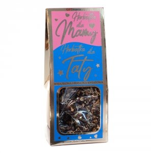 Wyjątkowa herbatka kwiatowa w złotym opakowaniu z napisem Herbatka dla Mamy i Herbatka dla Taty