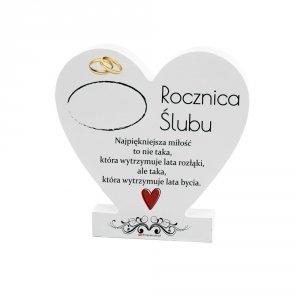 Drewniana tabliczka serce z podstawką  Rocznica...