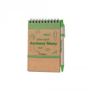Notes i długopis eco z nadrukiem Złote myśli Kochanej Mamy - kolor zielony