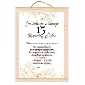Dyplom gratulacje z okazji 15 rocznicy ślubu.  Dla cudownej pary, z najlepszymi życzeniami, by szczęście nie znało miary...