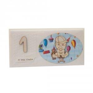 Kartka na 1 urodziny, chłopczyk w czapeczce owal kolor niebieski / zielony