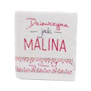 Ręcznik z haftem - moja Mama to dziewczyna jak malina