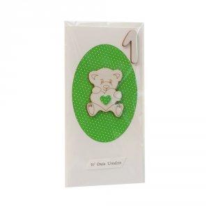 Kartka na 1 urodziny, miś sklejka dekor owal, zielony