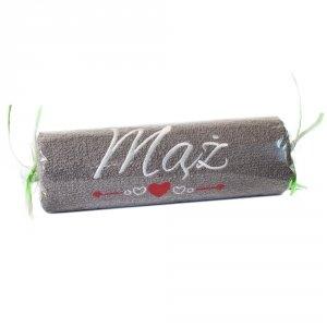 Ręcznik szary cukierek z haftem MĄŻ