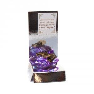 Żaba z groszem na akrylowym sercu z napisem Na Sukces w ozdobnym opakowaniu