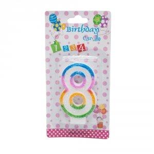 Świeczka cyferka urodzinowa z brokatem 8