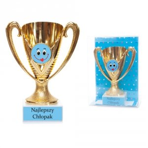 Puchar plasitkowy w ozdobnym opakowaniu Najlepszy Chłopak